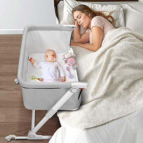 Bassinet for Baby - Gimars Upgrade3LevelWobble-PreventDesign Folding Baby Bassinet Bedside Sleeper,Bedside Crib Bed for Baby/Infant/Newborn Boys or Girls with Built-in Wheels (Grey)