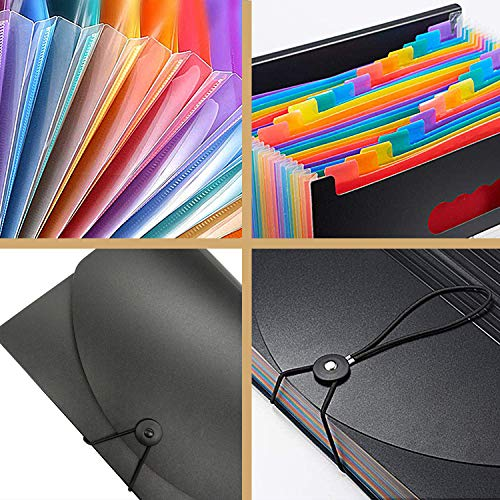 Expanding File Folder Organizer 13 Pockets with Cover Lid Multi-Color Accordian A4 Letter Size File Box Portable High Capacity Plastic Colored Paper Document Filing Folder Photo #7