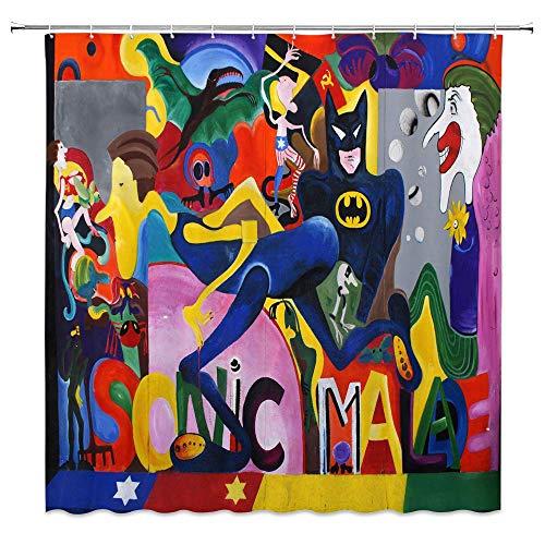 AdaCrazy Graffiti Thema Cartoon Mann Batman Held Muster kreative Persönlichkeit abstrakt 71x71 Zoll hochwertige Polyester wasserdichtes Gewebe Duschvorhang einschließlich 12 Kunststoffhaken