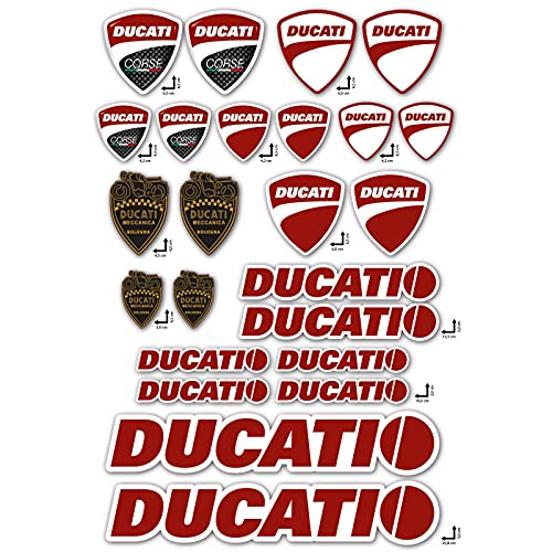 Stickers-Aufkleber-Set Ducati Corse Logo Panel 24-teilig Motorradhelm Vinyl