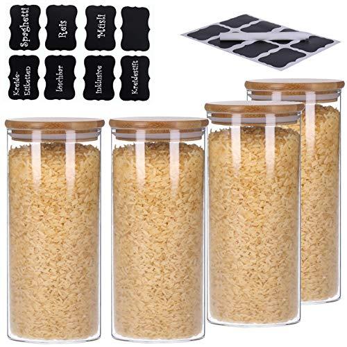TALK-POINT 4er Set Vorratsdosen aus Glas mit Bambusdeckel, Vorratsgläser, Glasbehälter, Spaghetti- Glas   inkl. 8 Kreideetiketten und Stift   luftdicht, Spülmaschinenfest, Mottensicher (4X 1500 ml)