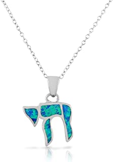 925 Sterling Silver Blue Simulated Opal Turquoise-Tone Jewish Chai Living Charm Pendant Necklace