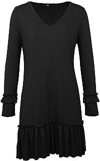 Fulision Autumn V Neck Ruffle Dresses Womens Solid Color Long Sleeve Short Skirt