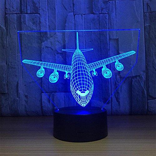 Lh&Fh 3D Nachtlicht kreative Flugzeug Modell Fernbedienung Touch Lampe mit 7 Farbwechsel, remote