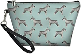 FOR U DESIGNS Hangheld Cosmetics Pouch Pu Leather Zipper Makeups Organizer Schnauzer Printed Women Wallet
