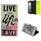K-S-Trade® Schutzhülle Für Archos 50f Neon Schutz Hülle 360° Wallet Case ''live Life Love'' Schutzhülle Handy Tasche Handyhülle Etui Smartphone Flip Cover Standfunktion (1x)