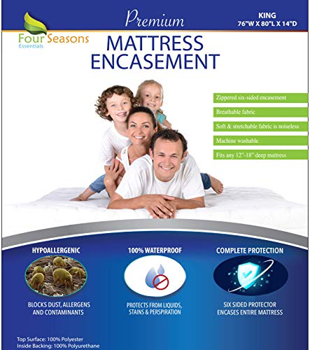 Four Seasons Essentials King Mattress Protector Bedbug Waterproof Zippered Encasement Hypoallergenic Premium Quality Cover Protects Against Dust Mites Allergens
