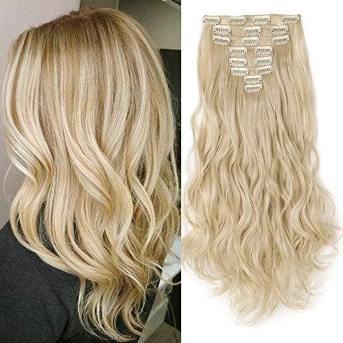 Haarteil Clip in Extensions wie Echthaar 8 Teile 18 Clips Günstig Weich Haarverlängerung Synthetische Gewellt Haare 60cm-140g Bleichblond