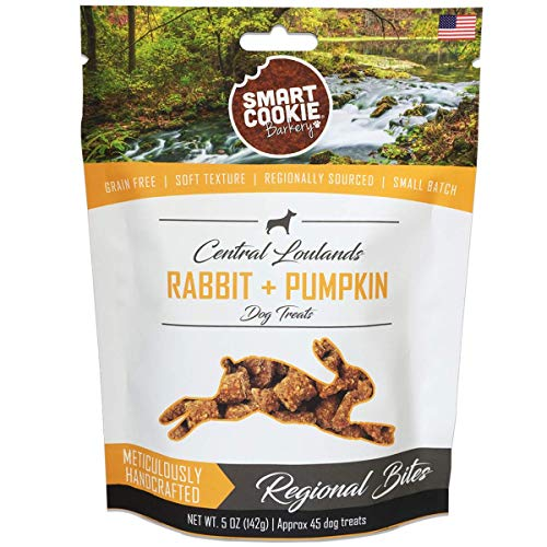 Smart Cookie All Natural Soft Dog Treats - Rabbit & Pumpkin - Training Treats for Dogs and Puppies with Allergies or Sensitive Stomachs - Grain Free, Chewy, Human-Grade, Low Calorie - 5oz Bag