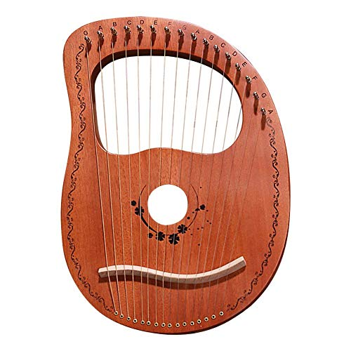 gaeruite Kleine Harfe 16 Saiten, Portable 16 Notes Lyra Harp Mahagoni Saiten Set Stabile Klangqualität Harfe für kleine Harfeninstrumente