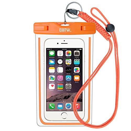 EOTW IPX8 Custodia Impermeabile Universale di 6 Pollici Cellulare,Subacqueo Impermeabile Waterproof Borsa per Rafting Kayak Canottaggio Pesca Sci iPhone Samsung Huawei Sony LG - Arancia