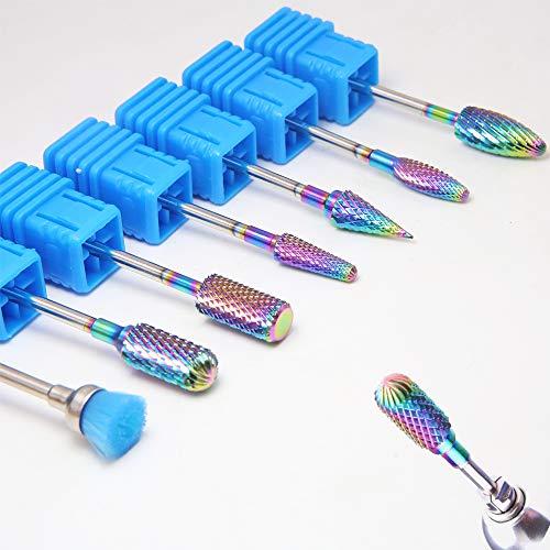 Regenbogen-Hartmetall-Nagel-Bohrer, professionelle elektrische Nagel-Bohrer-Datei-Stückchen-Werkzeuge für das Maniküre-Pediküre-Häutchen-Gel-Nagel-Polieren