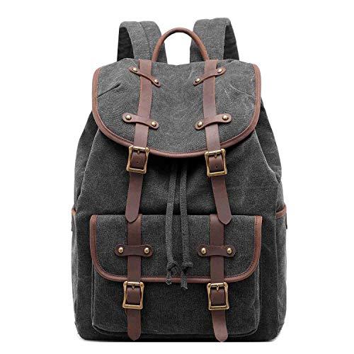 Neuleben Vintage Rucksack Daypack aus Canvas Leder Rucksäcke Tagesrucksack Retro Damen Herren für Schule Reise Outdoor (Schwarz)