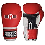 Ringside Pro Style Boxing Training Gloves Kickboxing Muay Thai Gel Sparring Punching Bag Mitts, Large/X-Large, Red