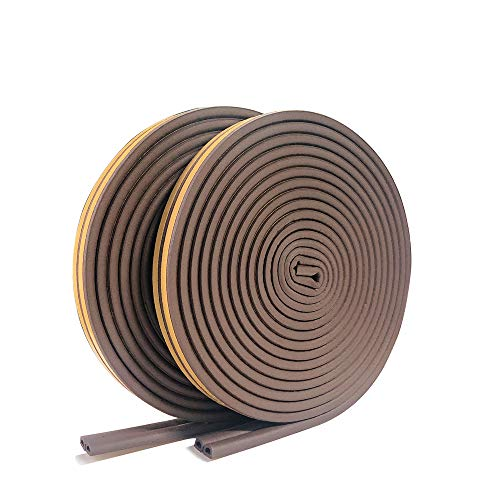 XEUYUTR 66 Feet Long Weather Stripping for Doors/Windows, Self Adhesive Foam Weatherstrip, Soundproofing Weatherstrip Gap Blocker, Collision Avoidance Rubber Self-Adhesive Weatherstrip(2 Pack, Brown)