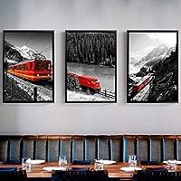 壁の写真3ピース30x50cmフレームなし素朴な黒と白の風景キャンバス絵画赤い列車雪山プリントポスター壁アート家の装飾