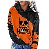 Sudaderas de moda para mujer con capucha y cordón de manga larga con estampado de bloques de colores para Halloween, Amarillo03, S