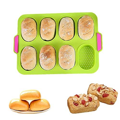 Silikon Baguette Backblech,Silikon Backformen Brötchen,Französische Brot Silikon Backform,Brötchen Backform,Brotbackform für 8 Brötchen,Perfekt für Backt French Bread Breadstick