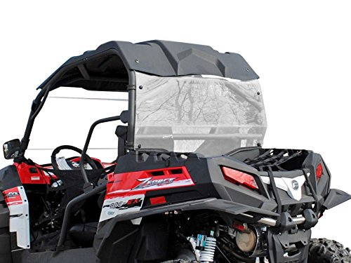 SuperATV Heavy Duty Rear Windshield for CFMOTO ZForce 800 EX / 1000 (2014-2017) - Clear Standard Polycarbonate - Easy to Install!