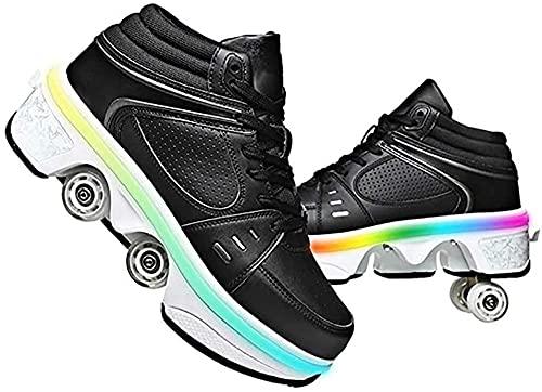 WSZMD ¡Zapatillas Deslizantes, 2 En 1 Zapatos Deslizantes, Hombres Y Mujeres con Luces LED Pueden Ser Descargadas a Patines De Viajes Recargables!,Black-43