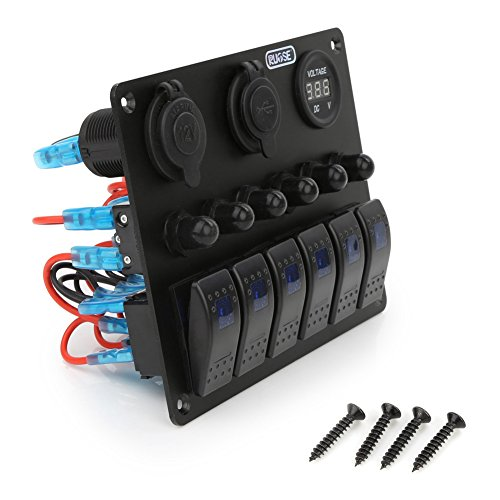 Rupse Überlastungsschutz 6 Wasserdichte Ein / Aus Wippschalter Panel Digital Voltmeter + 12V Zigarette Socket + Double USB Power Ladegerät Marine Boat Circuit Blau LED 6 Gang Auto