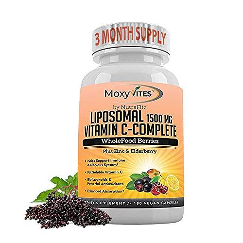 Liposomal Vitamin C with Zinc Capsules - Vit C Organic Elderberry, Amla, Camu Camu- Vitamina C High Absorption, Anti Aging, Immune Support,1500mg/Serving 3 Month Supply Gluten Free NON GMO Veggie Caps