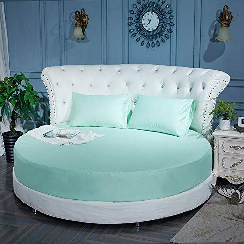 HPPSLT Protector de colchón Acolchado - Microfibra - Transpirable Colchón de Cama Redondo de una Sola Pieza Full Round-Water Blue_2.2m