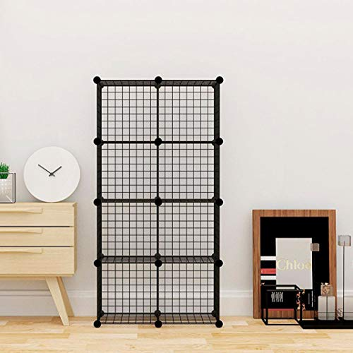 T-LoVendo 34.1 Estantería Librería Modular en Cubos-Negra, 35.5 x 35.5 x 35.5 cm cada cubo ensamblado