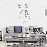 Zdklfm69 Pegatinas de Pared Adhesivos Pared Arte de Dibujo de línea de Pareja para decoración del hogar, Sala de Estar, Moda, San Valentín, murales extraíbles 57x96cm