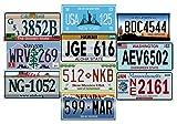 - Lot de 10 PLAQUES D' IMMATRICULATION de Voiture USA en métal - répliques de Vraies plaques américaines (V1)