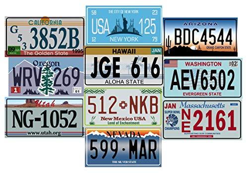 - Juego de 10 Placas DE Metal DE Licencia DE EE. UU. - REPRODUCCIÓN DE EE. UU.