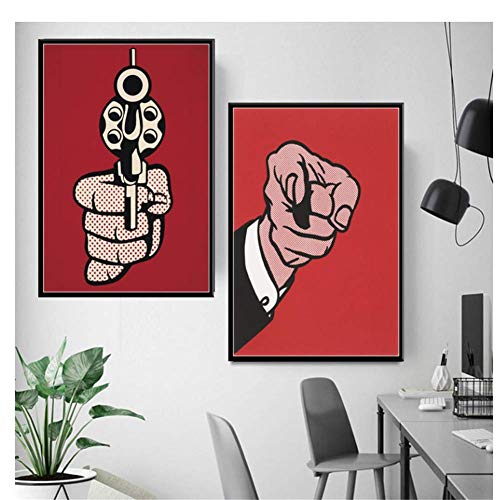Pop-Art-kunstwerk Roy Lichtenstein Finger Gun Art schilderij zijde canvas poster muur wooncultuur -50x70cmx2 frameloos