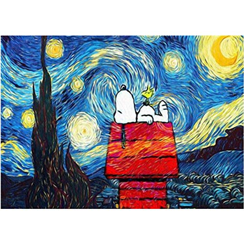 Malen Nach ZahlenÄngstliche Erwachsene Pinsel Snoopy Unter Den Sternen Landschaft Farbe Leinwand Hochzeit Dekoration Kunst Bild Geschenk Mit Rahmen 40X50Cm kinder Zhxx