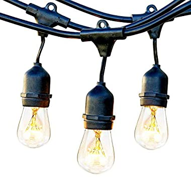 Brightech Ambience Pro Waterproof Outdoor String Lights Vintage Hanging Edison Bulbs: 48 Ft Commercial Grade Patio/Gazebo Lights - Great Cafe/Bistro Ambience in Your Garden – Black