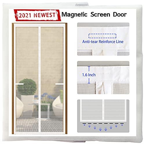Magnetic Screen Door 36 Magnets[2021 Upgraded Version]36x83,Full Frame Seal Heavy Duty Fiberglass Mesh Screen Door Magnets,Retractable Door Screen Magnetic Closure for Single Sliding Front door ,White