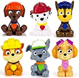 Kids Paw Patrol Mini Figures Set of 6 - Rocky, Zuma, Skye, Rubble, Marshall & Chase