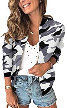 ECOWISH Womens Jackets Lightweight Zip Up Casual Inspired Bomber Jacket Camouflage Coat Stand Collar Short Outwear Tops Camouflage Medium
