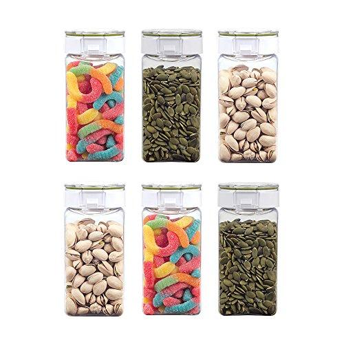 Takeya freshlok hermético contenedor de almacenamiento, 4litre, Transparente, 0.5qt / 500ml / 2.1cups (Set of 6), 1