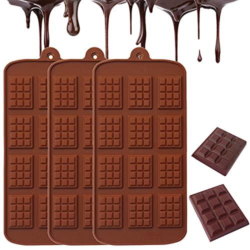 3 Pcs Mini Stampi per Cioccolatini Stampi per Cioccolatini in Silicone con 12 Cavità Antiaderenti Stampi per Cioccolatini Privo di BPA Stampi per Bastoncino di Cioccolato per Decorazione della Torta