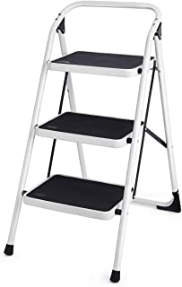 Goplus 3 Step Ladder, Folding Heavy Duty Step Stool Lightweight Steel Ladder with Handgrip and Wide Anti-Slip Platform for Kitchen Shop, 340lbs Capacity (Black)