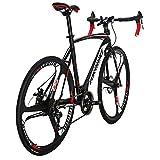 Eurobike XC550 21 Speed Dual Disc Brake Road Bike 54 cm Frame 700C K Wheels Road Bicycle Black White