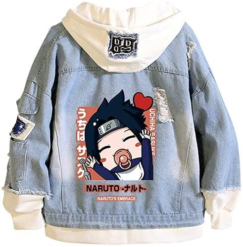 Proxiceen Naruto - Sudadera con capucha para niños, niñas, Sasuke Kakashi Akatsuki Uchiha Anime Jeans