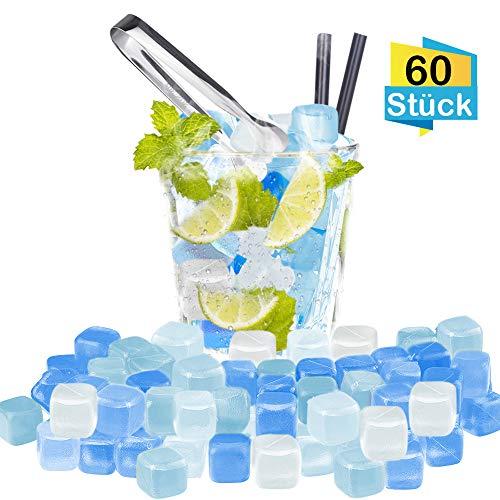 K KUMEED 60 Stück Eiswürfel Wiederverwendbar, Dauereiswürfel Wiederverwendbare Eiswürfel, Kunststoff Eiswürfel mit Edelstahl Eisclip, Plastik Eiswürfel Wiederverwendbar für Party
