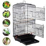 Yaheetech Gabbia per Uccelli Pappagalli Inseparabili Parrocchetti Voliera per Uccellini in Metallo con Posatoi in Legno e Ciotole 46 x 36 x 92 cm