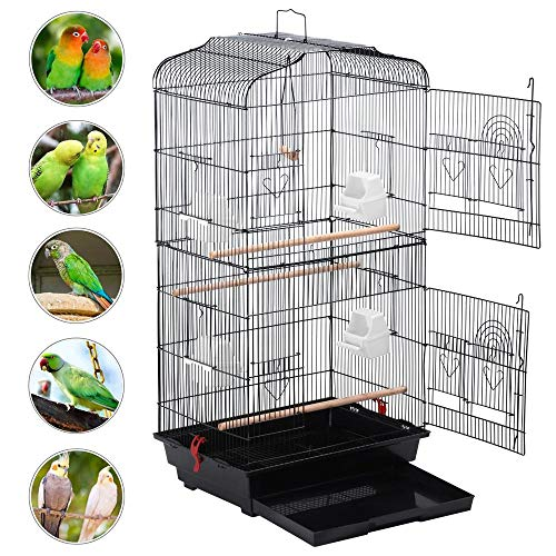 YAHEETECH 36-Inch Medium Size Quaker Parrot Bird Cage Cockatiel Indian Ring Neck Sun Parakeet Green Cheek Conures Lovebirds Budgies Canary Finch Parrotlet Portable Bird Cage, Black
