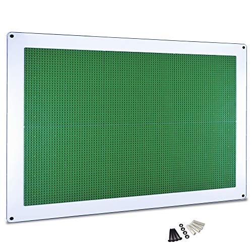 Play-Up Wall Panel - Large Building Brick Play Wall - Pre-Assembled - Compatible with All Major Brands of Interlocking Blocks - Vertical Building Surface - Green - 24 inch x 34 inch - by Creative QT -  PUPGR6
