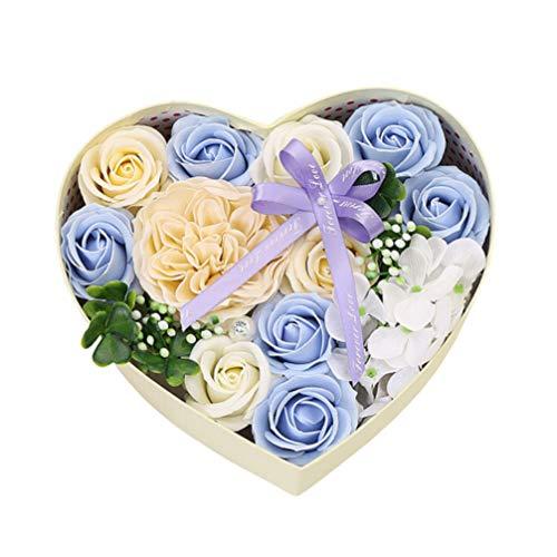 Amosfun coffret cadeau de fleurs fleurs boîte cadeau en forme de coeur romantique panier cadeau fleur de savon coeur meilleur jour de valentines pour elle (bleu ciel)