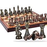 Juego de ajedrez Juego de caja de regalo de alta gama de ajedrez Estilo retro Metal Bronce Piezas de ajedrez Juego extra grande Tablero de ajedrez plegable dedicado Backgamm (Ejercicio de pensamiento
