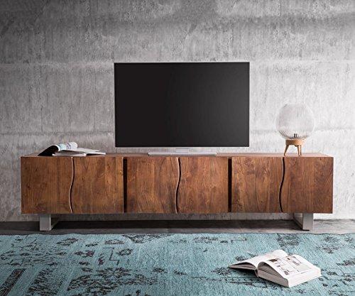 DELIFE Fernsehtisch Live-Edge Akazie Braun 220 cm 6 Türen Massivholz Baumkante Lowboard