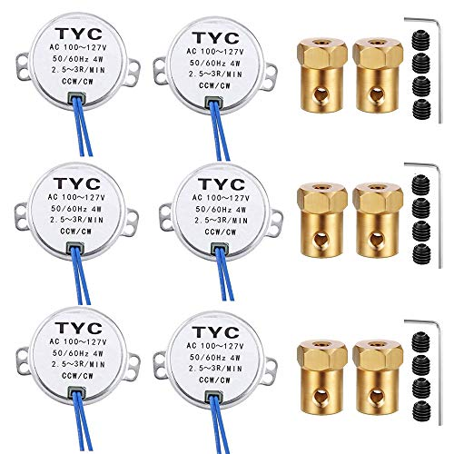 Turntable Motor Synchronous Synchron Motor 50/60Hz AC 100~127V CCW/CW 4W with 7mm Flexible Coupling Connector For Cup Turner,Hand-Made, School Project, Model (6pack-2.5-3RPM)
